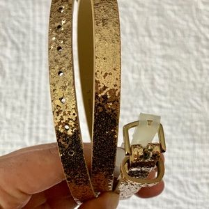 Gold Sequin Skinny Belt - large